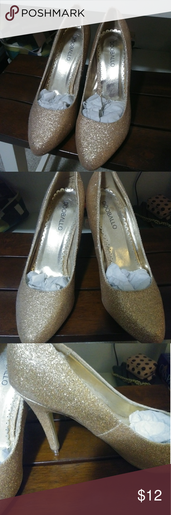 2d50171ea4b Gold glitter heels, size 8.5 These shoes are extra sparkly glitter ...