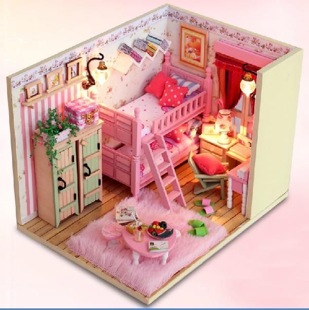 Diy Furniture Room Mini Box Dollhouse Doll House Miniature: Wooden Dollhouse Miniature Room Model DIY Kit With Light