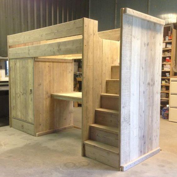 Hoogslaper met kast en bureau jongenskamer pinterest for Bureau van steigerhout maken