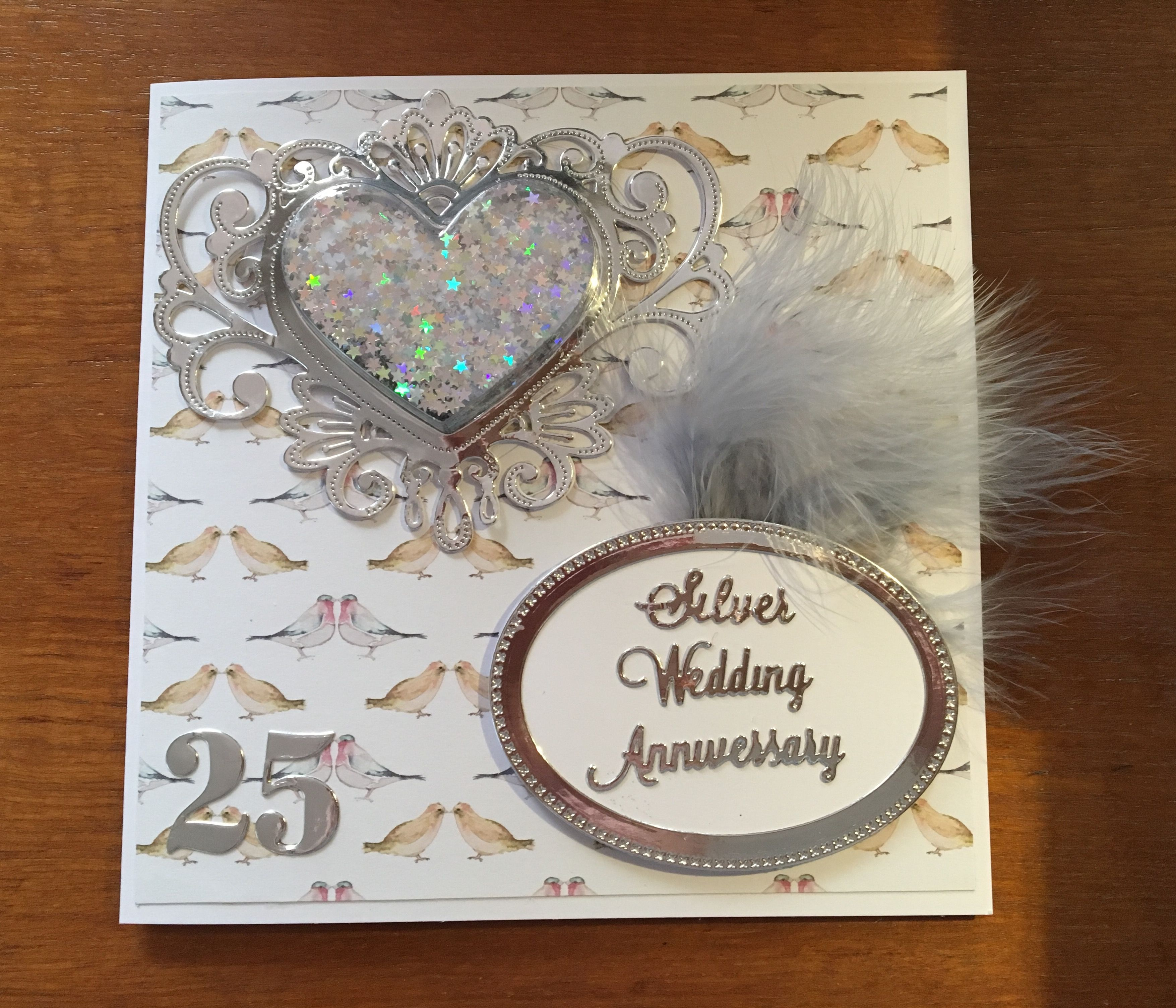 silver wedding anniversary card using creative expressions