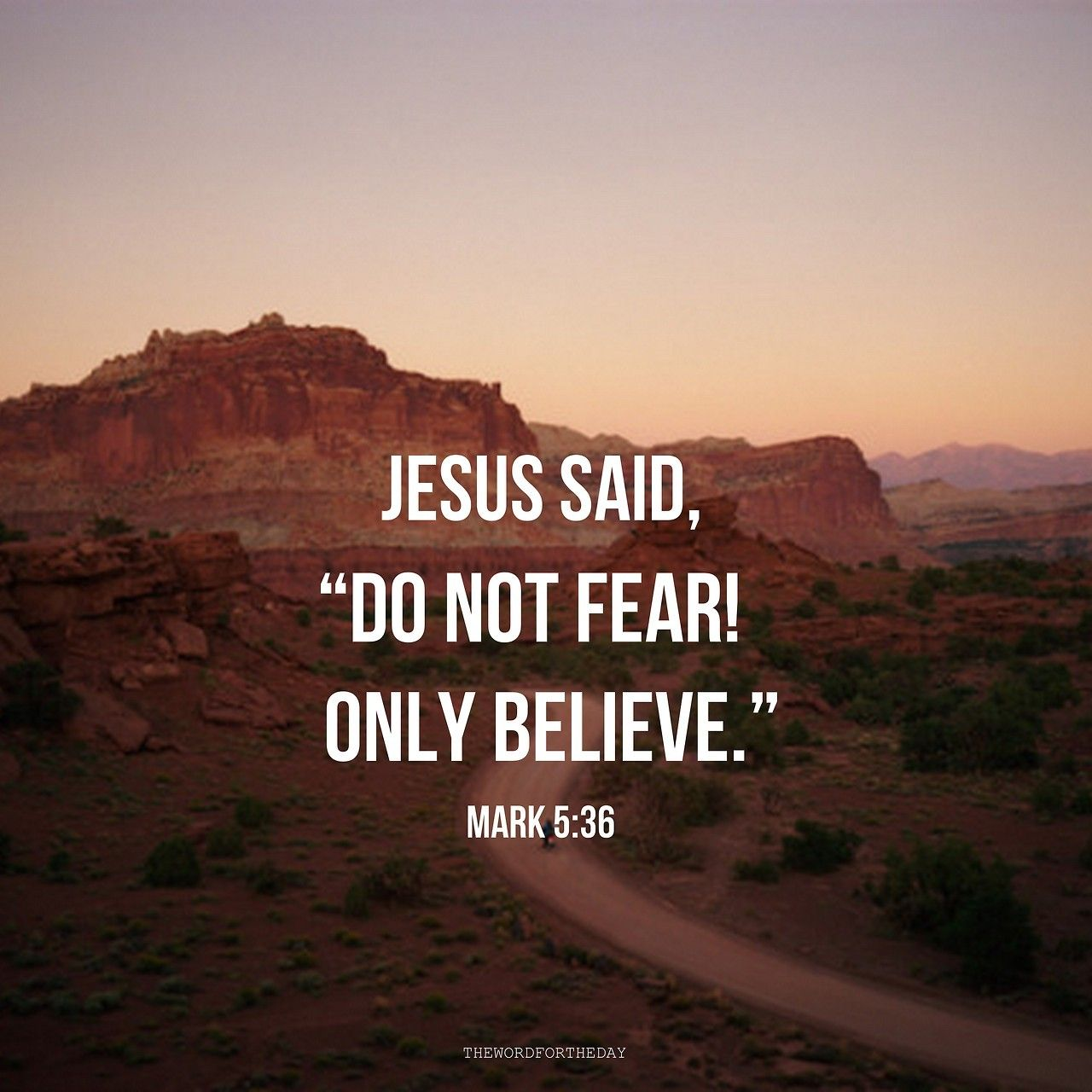 """Jesus said, """"Do not fear; ONLY BELIEVE!"""" Mark 5:36 This is God's message to  His people in this world. Though in this wor… 