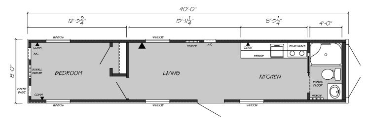 one bedroom, one bath shipping container home floor plan shipping
