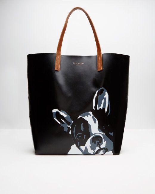 33a32d983ea5 French bulldog print shopper bag - Black