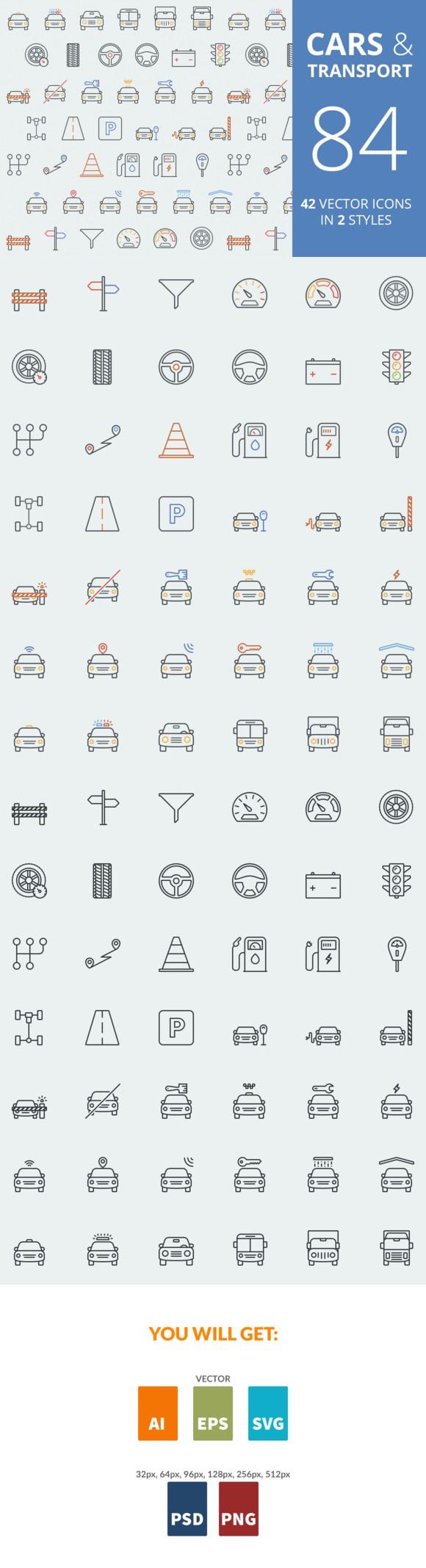 Cars & Transport Color Icons Web design, Color
