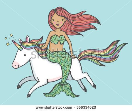 405c6eeb Cute cartoon drawing of a mermaid riding a unicorn | Beautiful Cases For  Girls