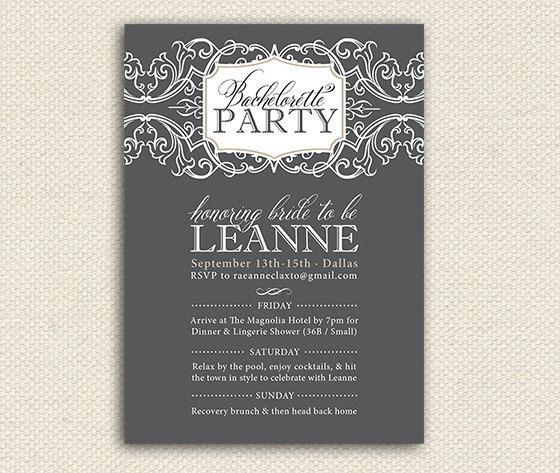 Printable Bachelorette Party Invitations Girls by lemonseedandco