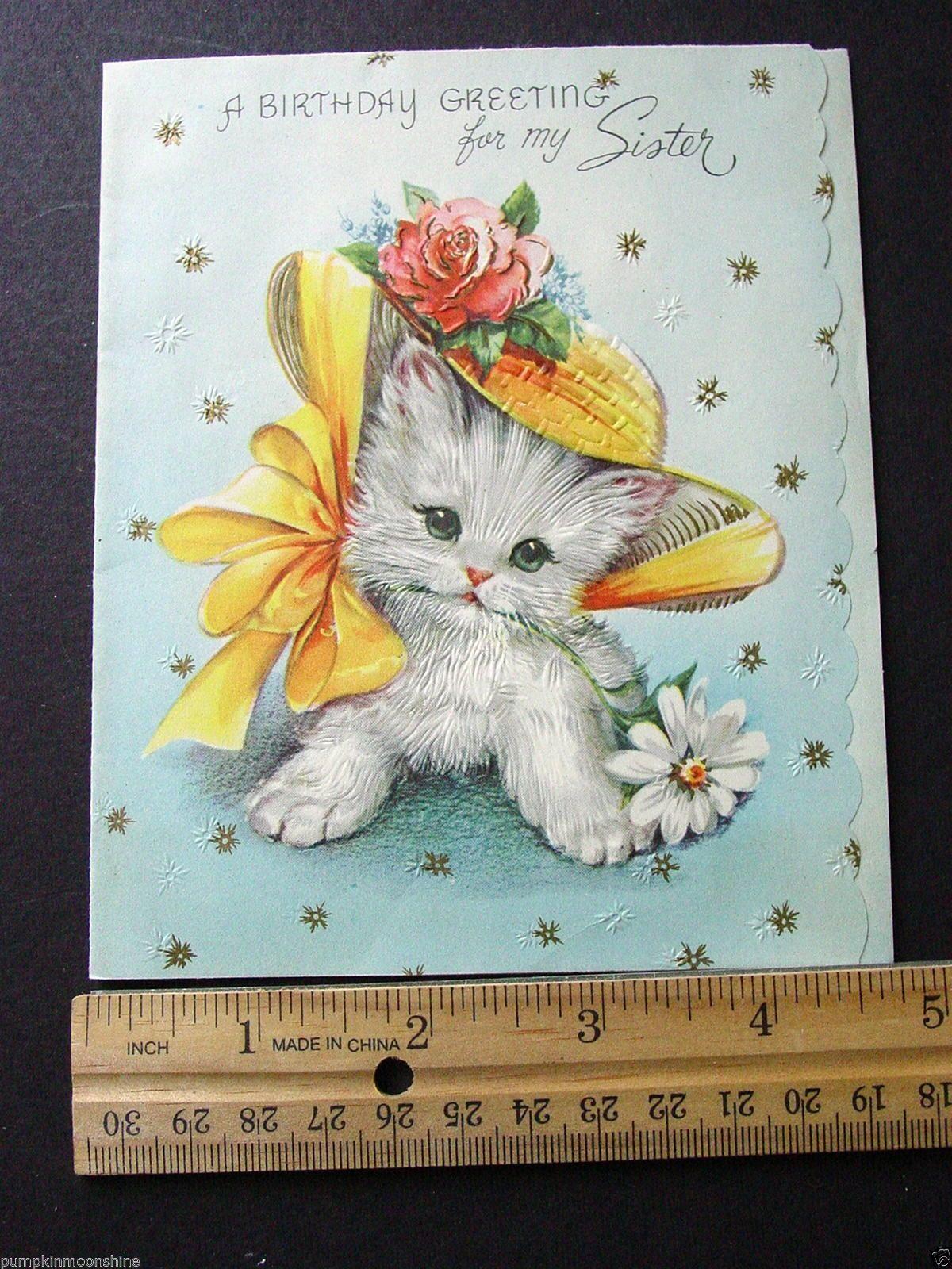 F473 Vintage Birthday Greeting Card Cute Kitten Wearing Straw Hat Gold Accents | eBay