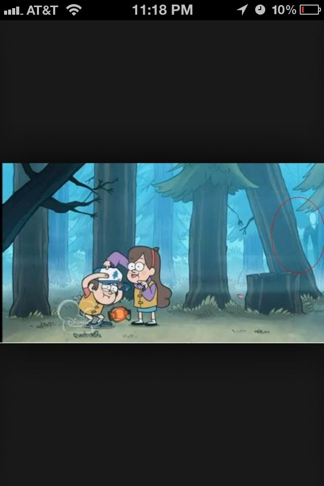 Behind Tree In Disney Tv Show Gravity Falls Slender Man Gravity