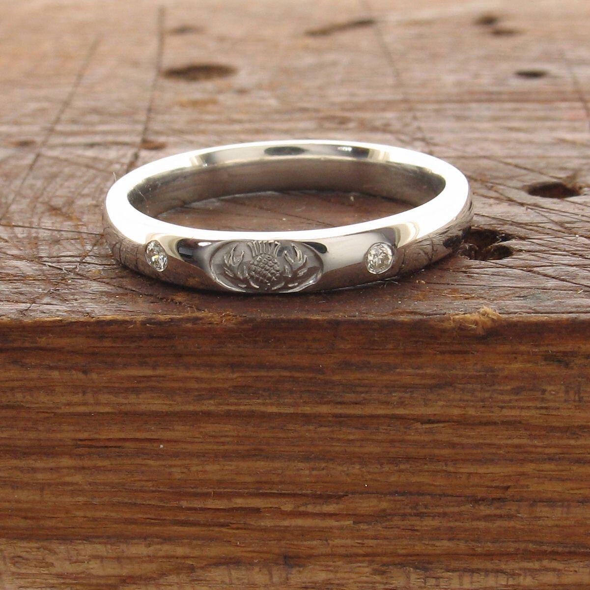 Scottish Thistle white gold diamond set ring on a 3mm