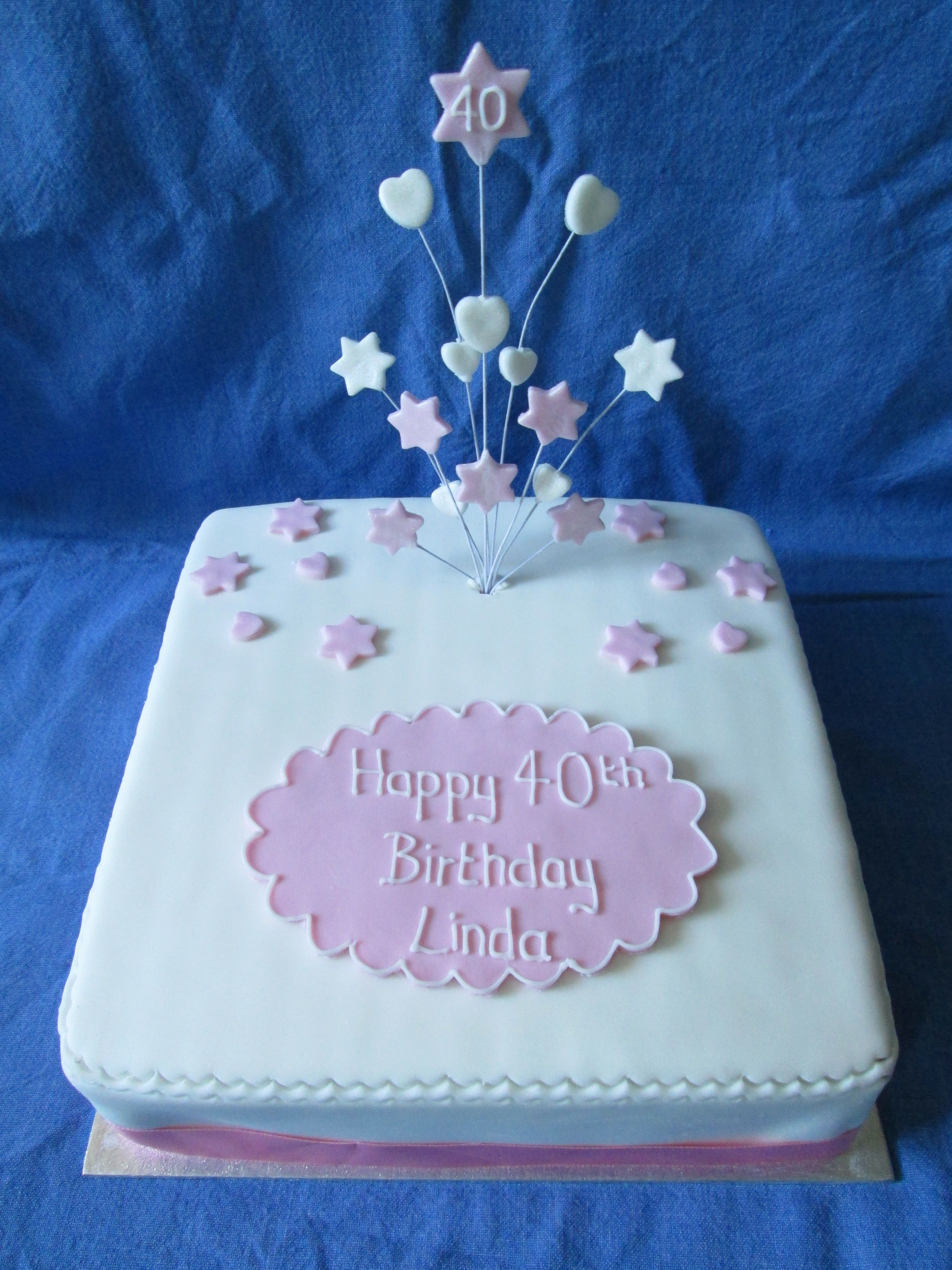 Amazing Plain Square Cake With Hearts And Starts Handmade Topper For 40Th Funny Birthday Cards Online Hendilapandamsfinfo
