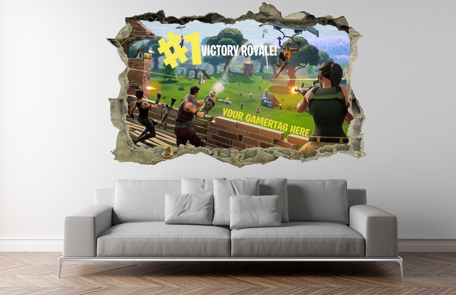 8 99 Gbp Fortnite Wall Sticker Kids Custom Name Personalised 3d