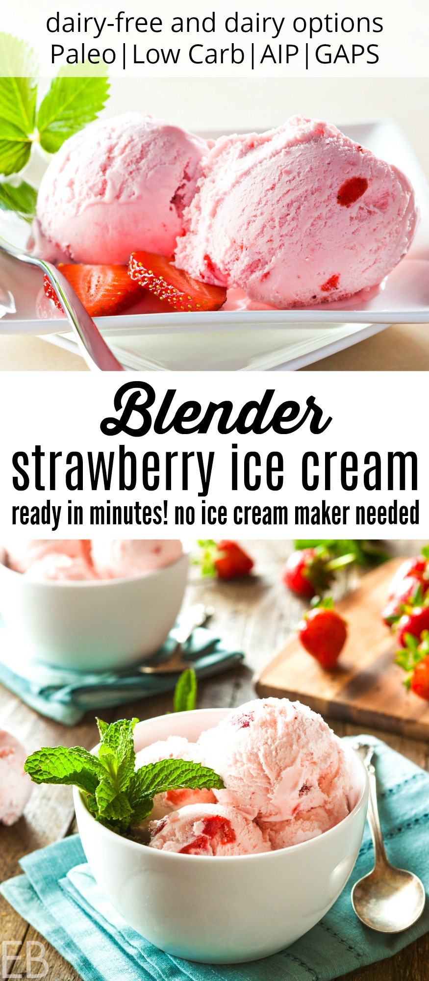 Blender Strawberry Ice Cream #ketoicecream