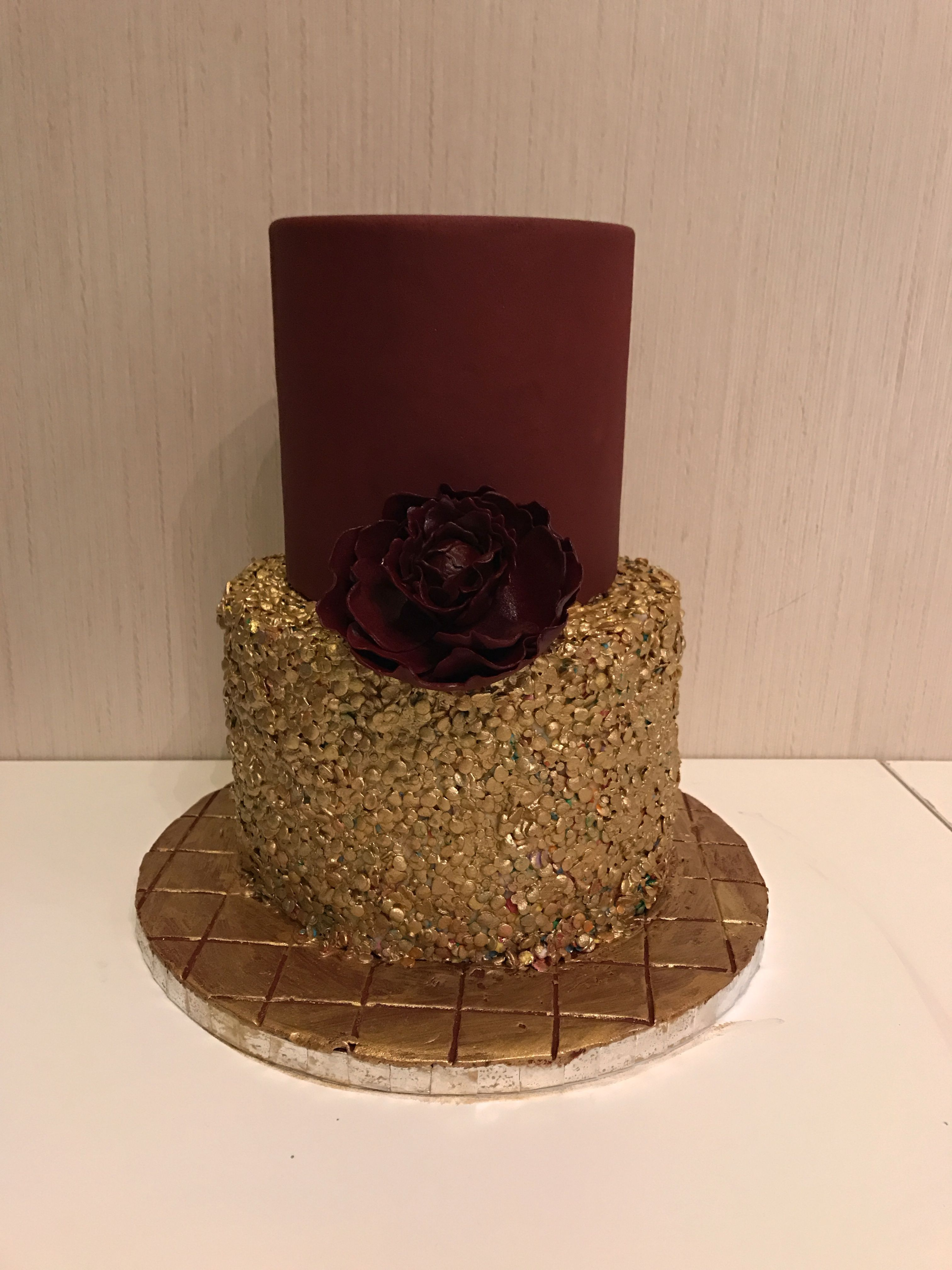 Maroon And Golden Sequence Birthday Cake