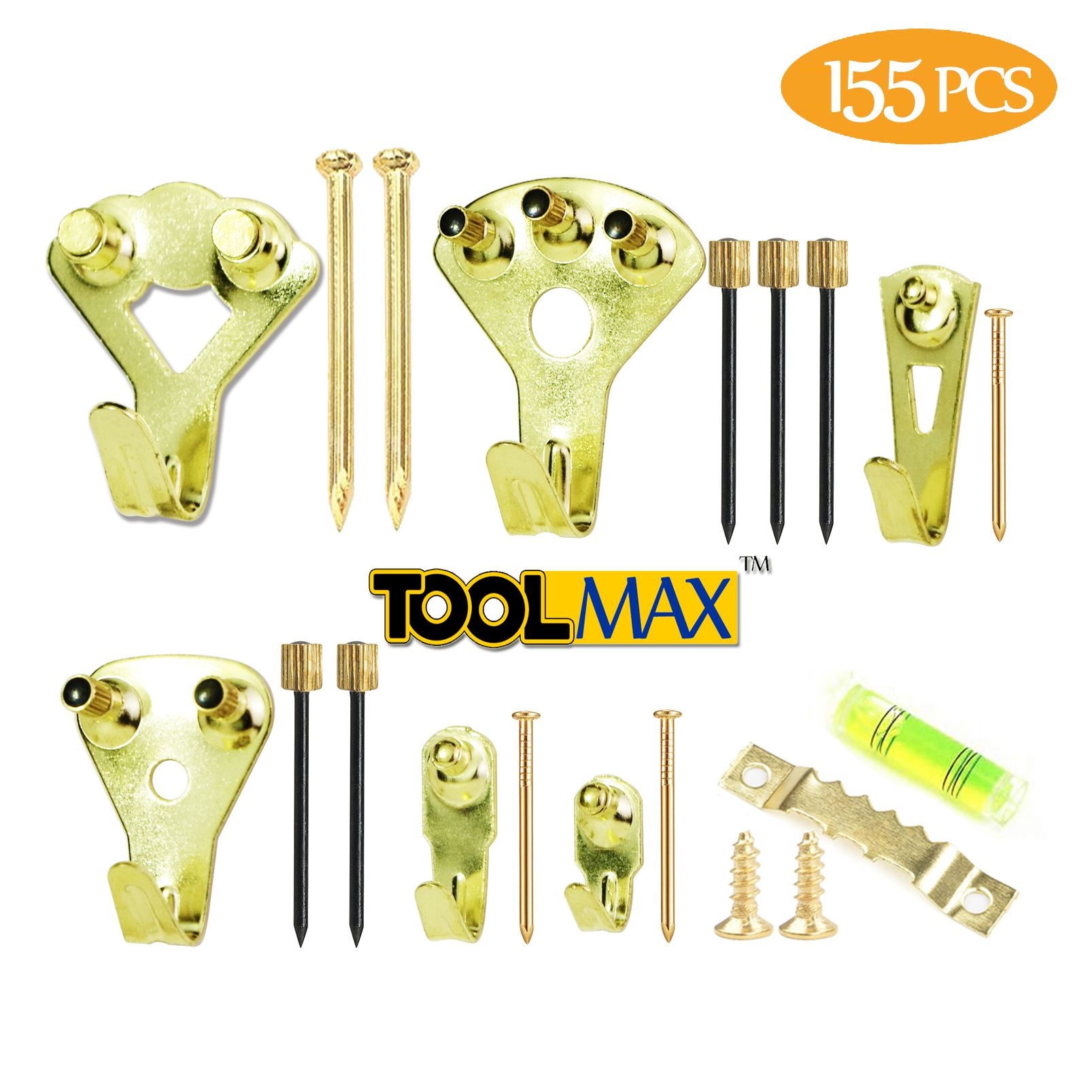 Toolmax Picture Hanging Kit 155 Pieces Assorted Heavy Duty Picture Hangers Hooks For Frames Picture Hangers Picture Hanging Heavy Duty Picture Hangers