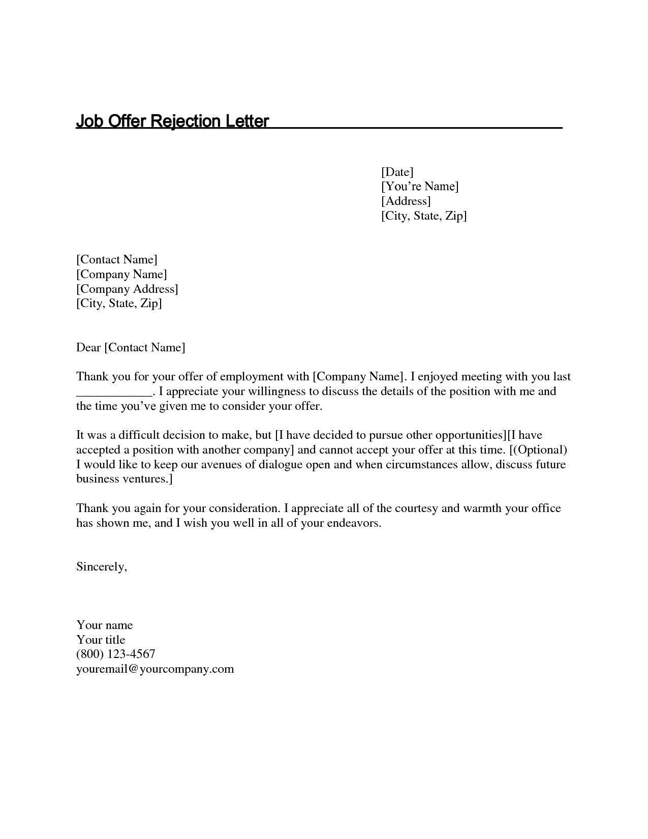 Valid Sample Letter Of Appreciation For Job Offer Job Rejection