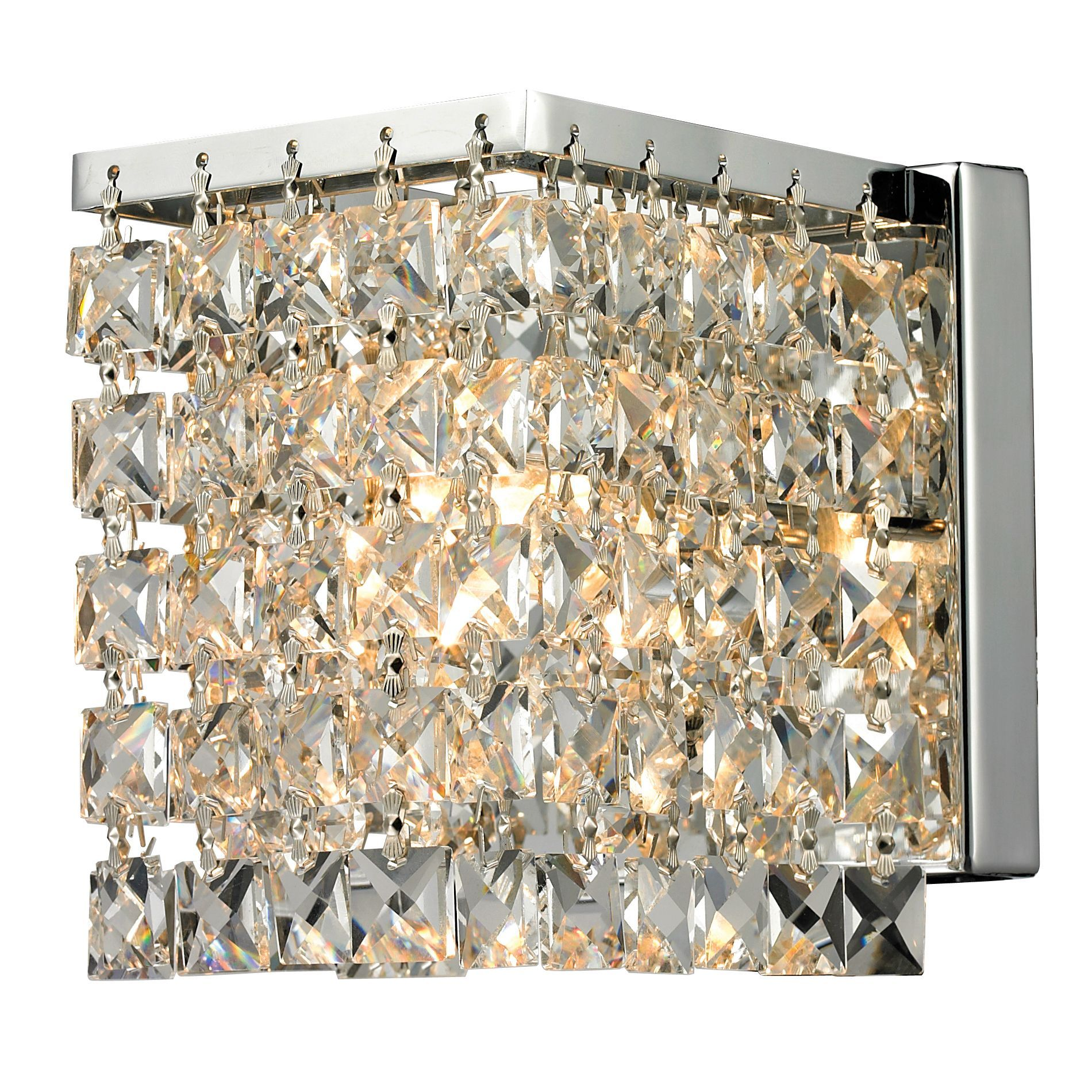 A glimmering crystal shade defines this sophisticated single-light wall sconce. This Waltz light fixture sparkles beautifully with polished chrome hardware.