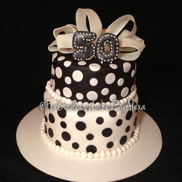 Elegant Black And White 50th Birthday Cake