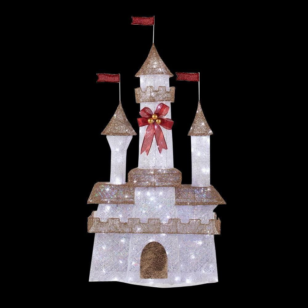 home accents holiday 6 ft. pre-lit twinkling castle | holidays