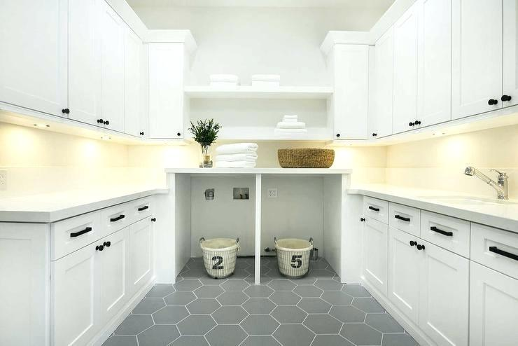 Large Hexagon Floor Tile Large Gray Hexagon Laundry Room Floor Tiles With White Cabinets Large For Laundry Room Flooring Modern Laundry Rooms Laundry Room Tile