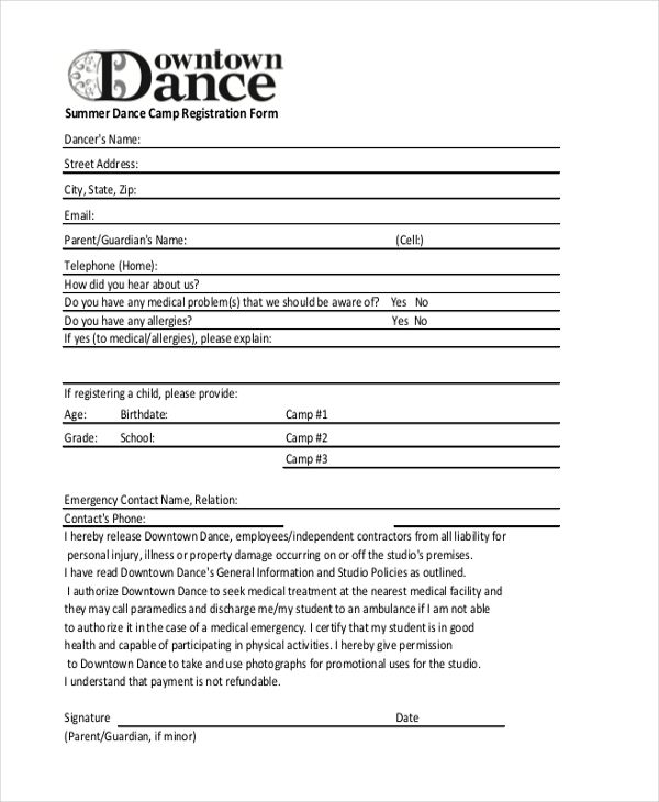 photograph regarding Printable Registration Form Template identify Pin via Marilyn McBride upon dance in just 2019 Registration kind