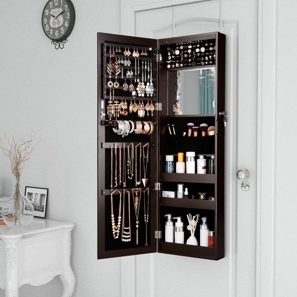 Mirror Jewellery Cabinet Door Mount Wall Mounted Jewellery