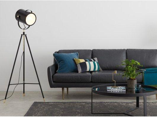f2313695c58d Bradley Tripod Floor Light, Black and Brass | Lighting | Floor Lamp ...