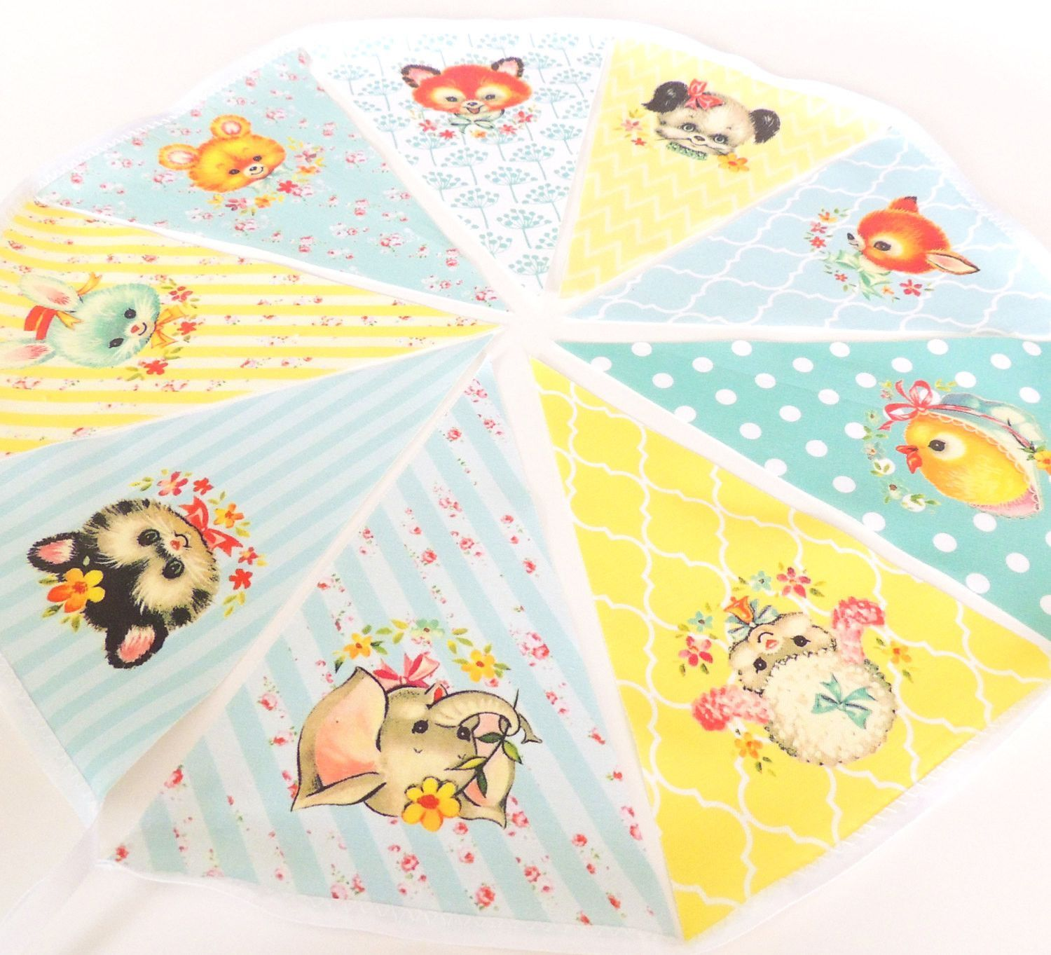 Vintage Animal Baby Shower Banner, Bunting, Pennant Fabric Flags ...