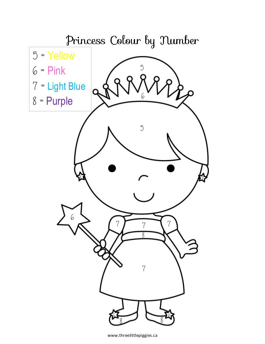 Free coloring pages of princess color by number coloring