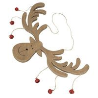 This large wooden reindeer Christmas decoration is decorated with small red bells and hangs from a rustic twine.