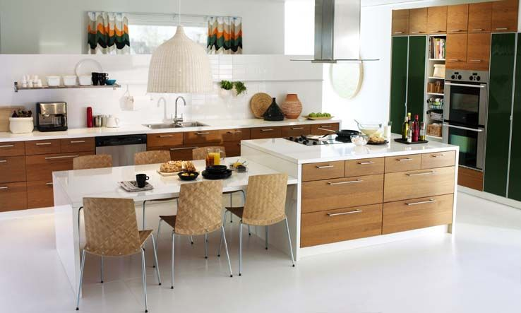 Kitchen Island with Table Attached | Mit leicht skandinavischem ... | {Küchenblock ikea 0}