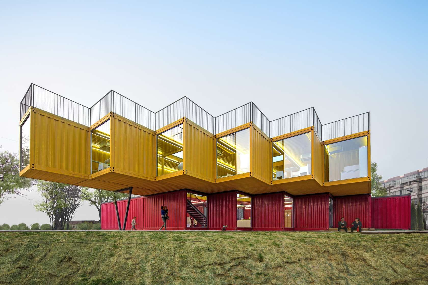 shipping container office plans. Shipping Containers Stacked And Shifted In Plan Layered Elevation Maximize Rooftop Views Shaded Container Office Plans