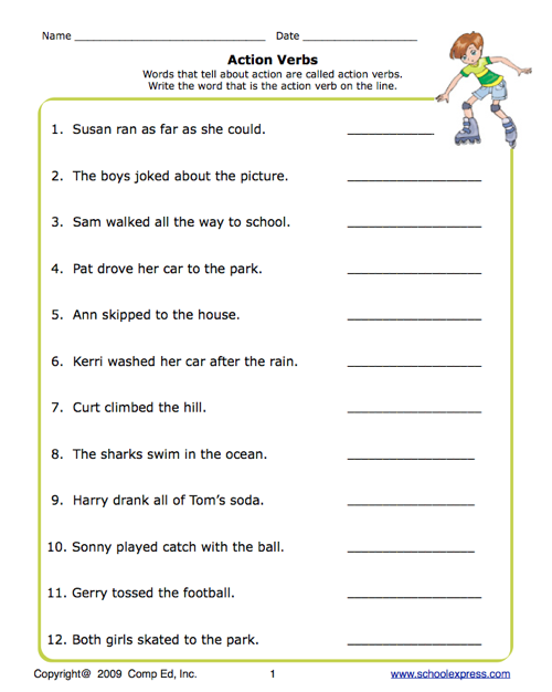 Verb Worksheets For 1st Grade | Benderos Printable Math ...
