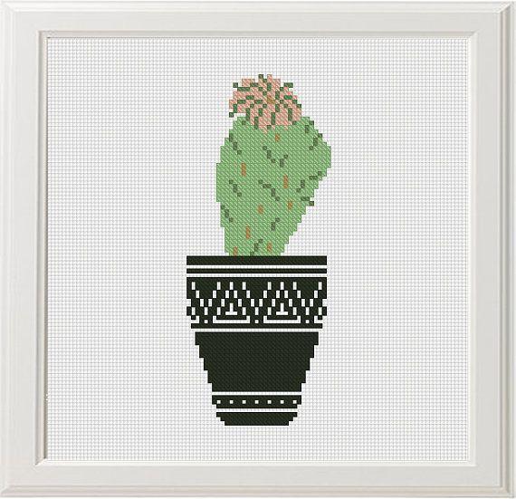 Cactus cross stitch Pattern PDF Modern cross stitch set 4 Succulent Floral cross stitch chart Flower Easy cross stitch PDF Instant download #decorateshop