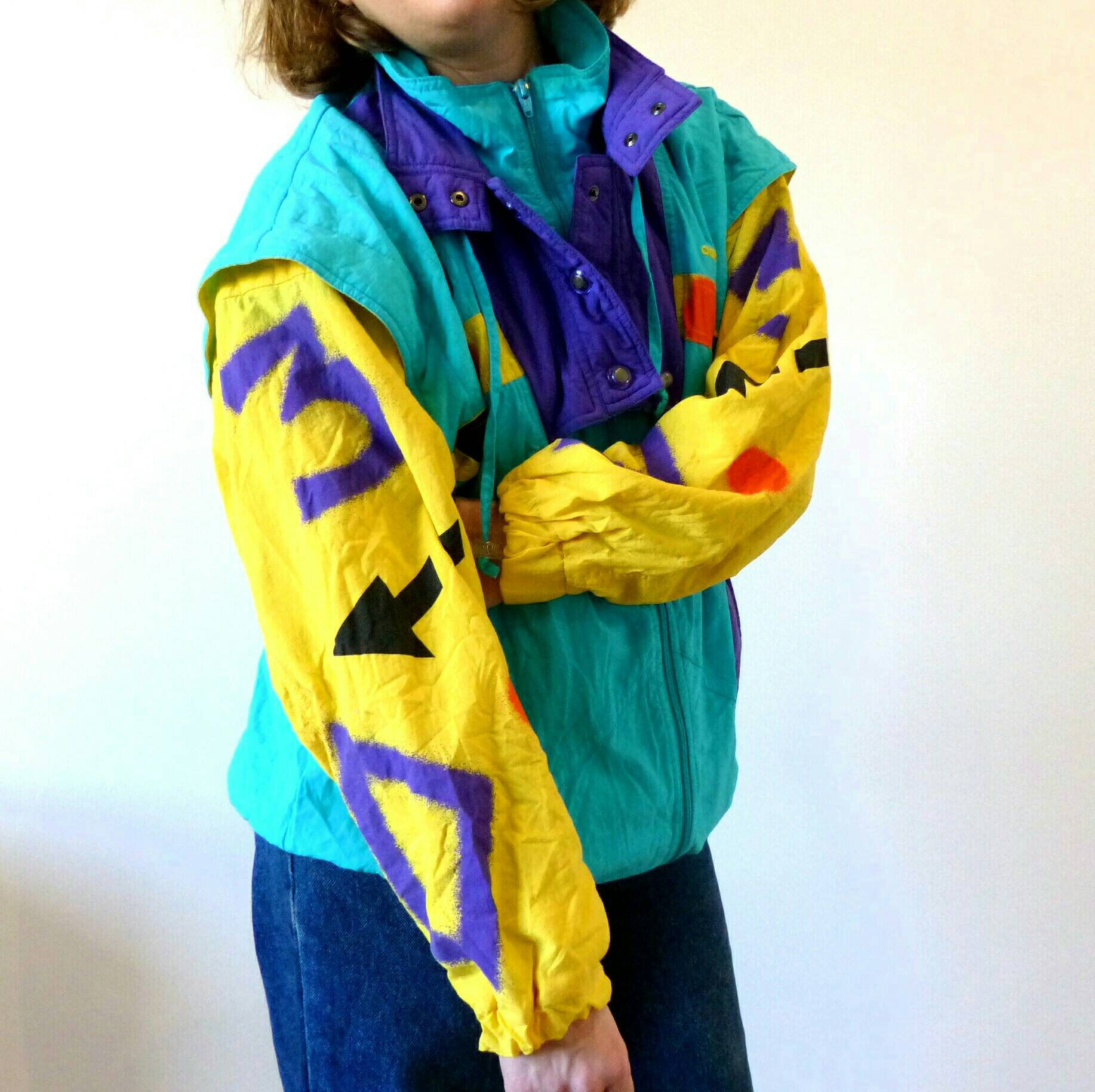 Adidas Vintage multicolored 80s jacket, multicolored Vintage crazy jacket, unisex 635793