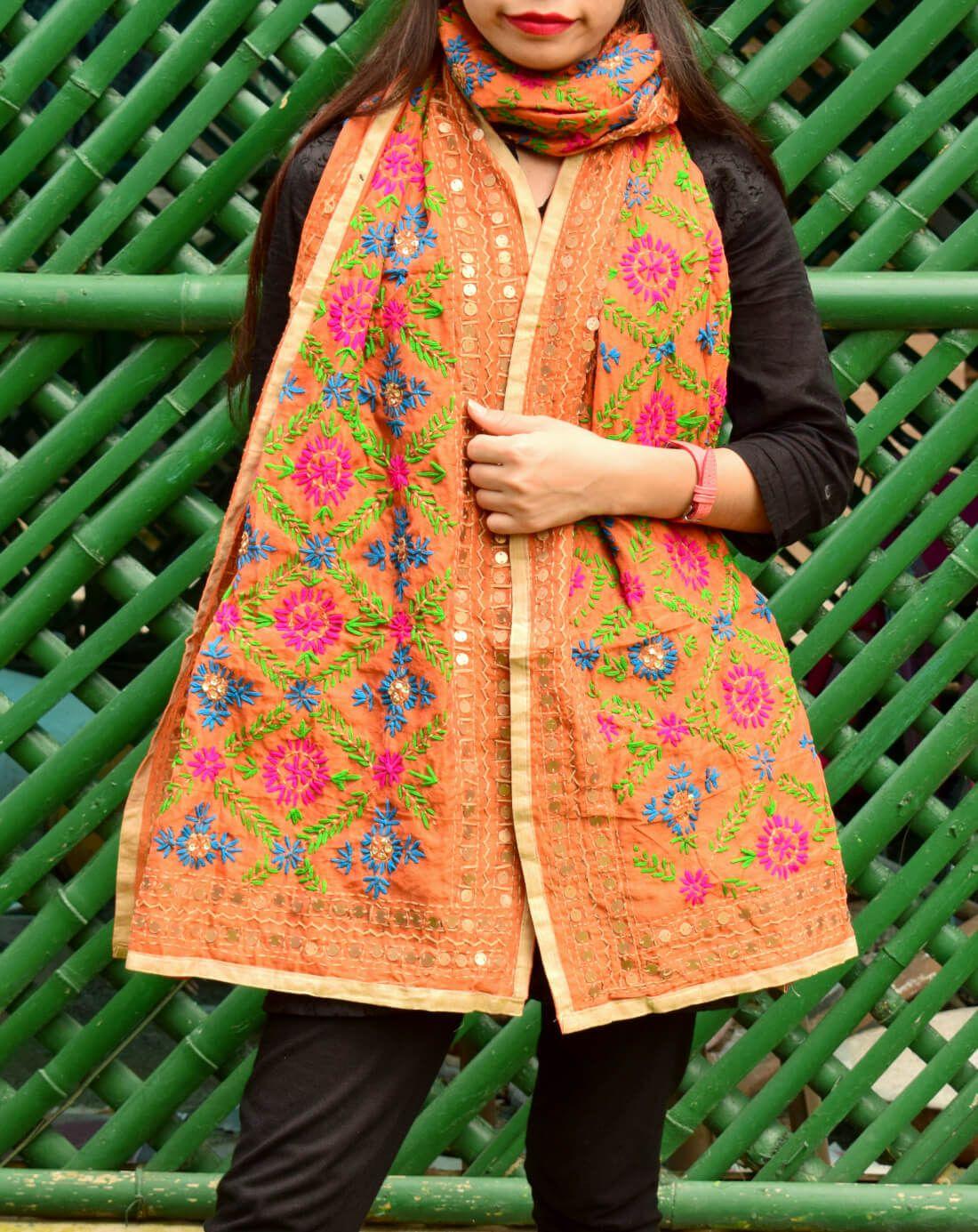 GiftPiper Chanderi Hand Embroidered Stole-Orange