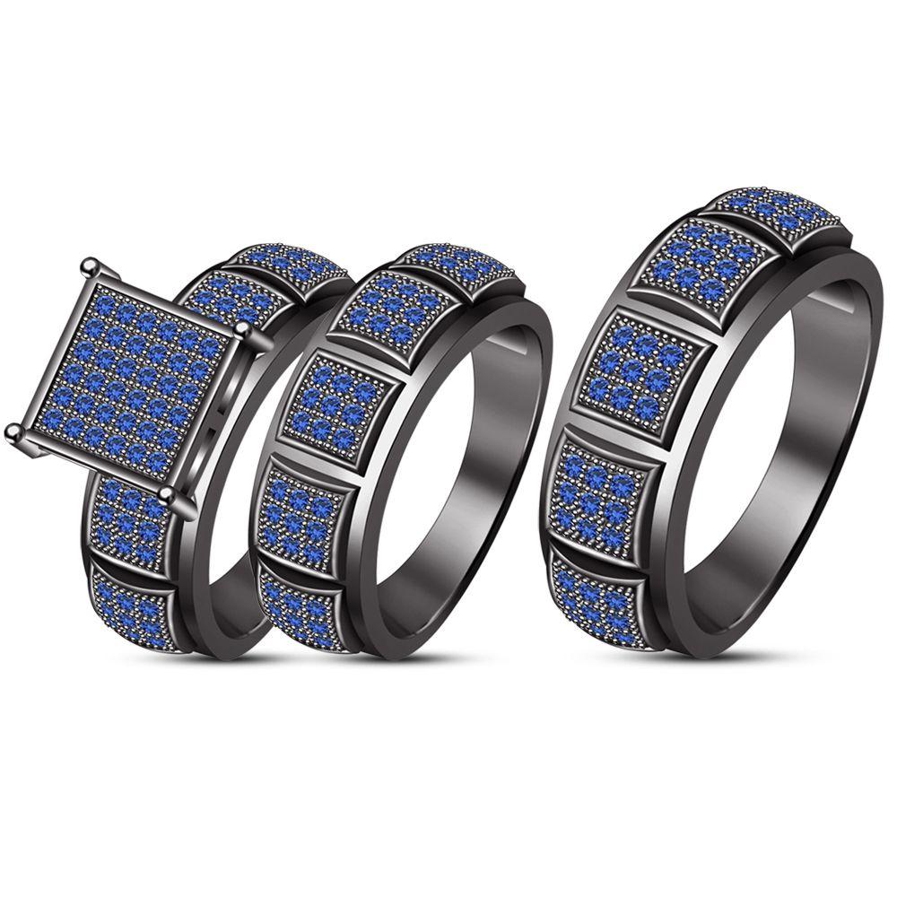 Mens Ladies 10k Black Gold Blue Sapphire Engagement Bridal Wedding Ring Tr Wedding Ring Trio Sets Sapphire Engagement Ring Blue Wedding Rings Sets His And Hers