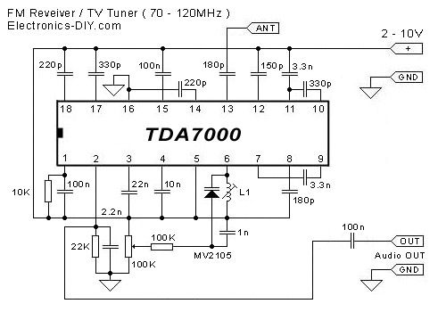 Tda7000 Fm Receiver Tv Tuner Electronic Schematics Tv Tuner Fm Radio Receiver