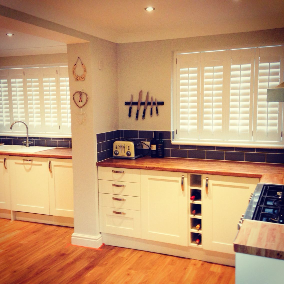 Pure White Shutters fitted in a brand new Kitchen in a