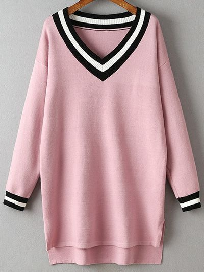 68f4587253 Pink Long Sleeve Dress, Long Sleeve Sweater Dress, V Neck Dress, Pink Dress