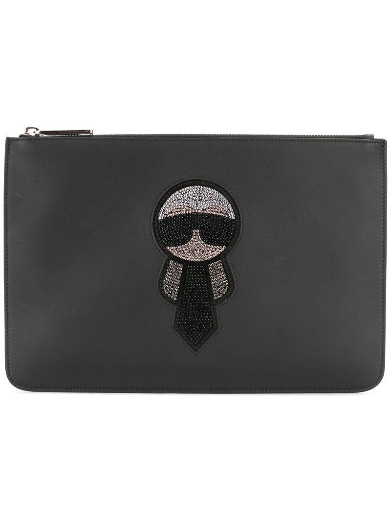 7082bf7a4869 FENDI FENDI - KARL CLUTCH .  fendi  bags  leather  clutch  hand bags ...