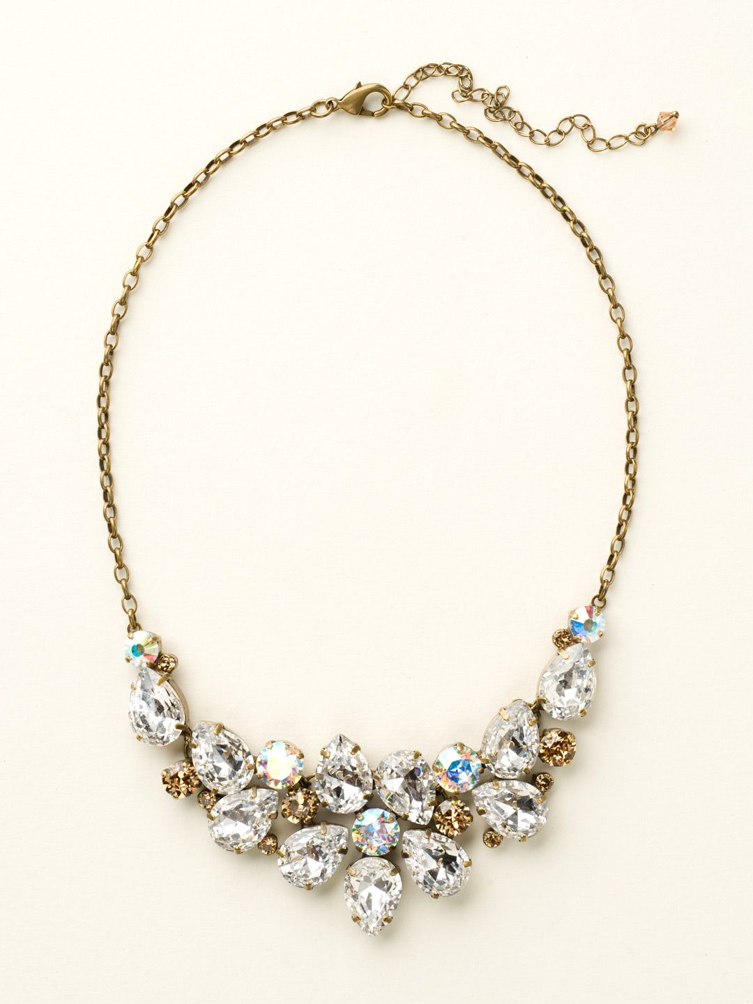 Dare To Pear Crystal Bib Necklace in Neutral Territory - Sorrelli
