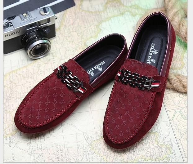 Spring Autumn Men Black Loafer Shoes Trendy Nubuck Leather Slip-on Loafers  Vintage Style Men Driving Casual Blue Flat Shoes K02 bcfd98f78c37