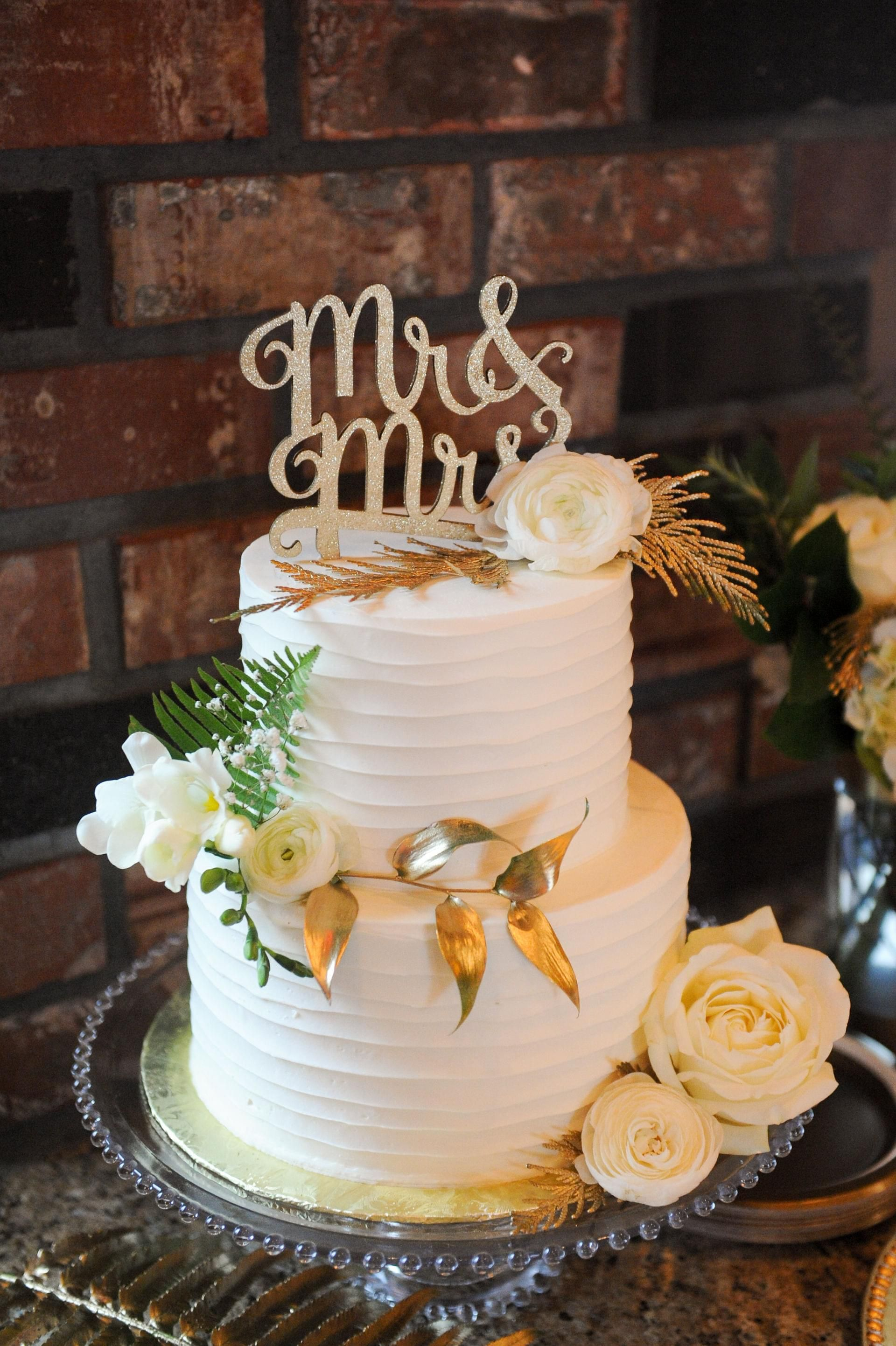 Glittery mr mrs cutout cake topper gold painted
