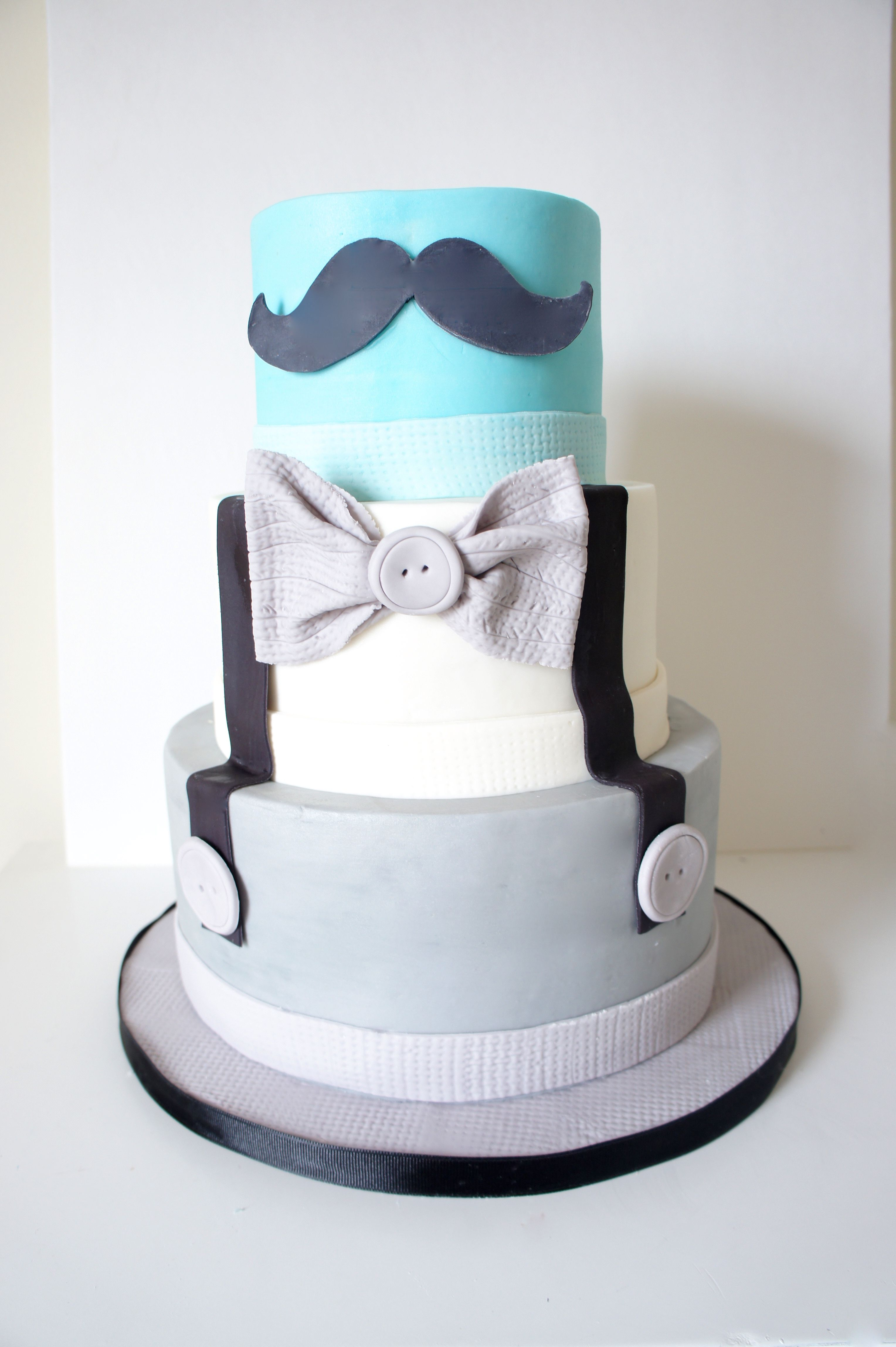 Little Gentleman cake moustache bowtie Happy First Birthday