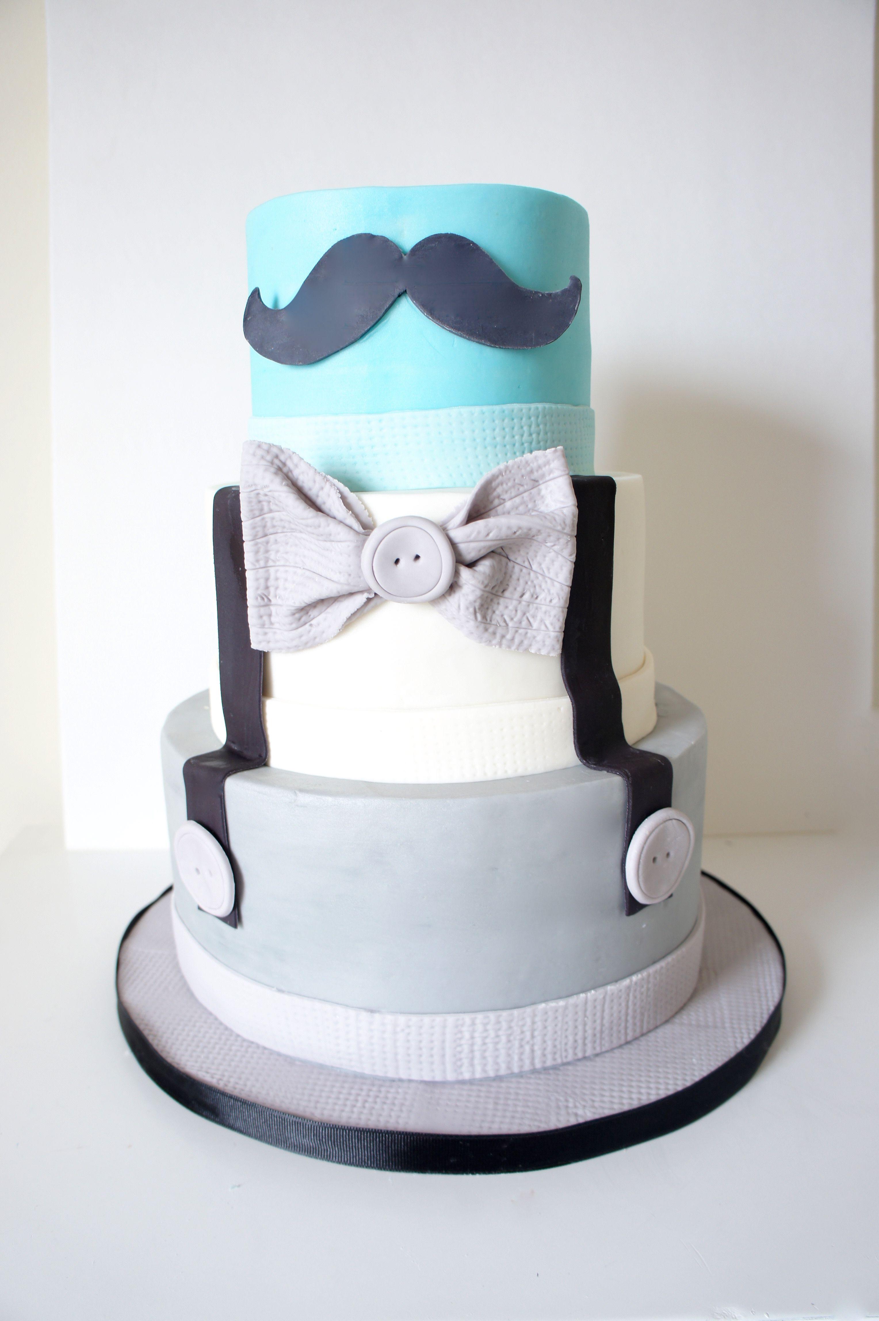 Little Gentleman Cake #moustache #bowtie Happy First Birthday!