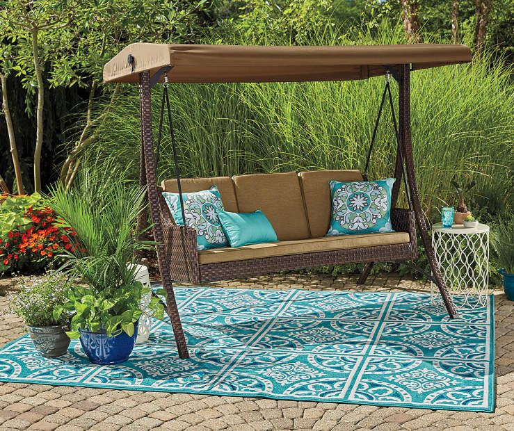 Wilson Fisher Sonoma Resin Wicker 3 Person Canopy Swing Canopy