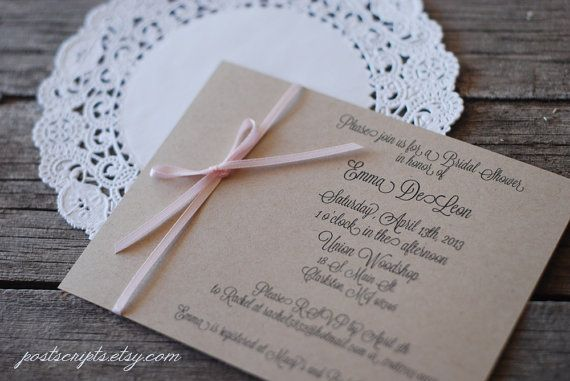 Vintage Handmade Wedding Invitations: Custom Handmade Vintage Ribbon Wedding Invitations With
