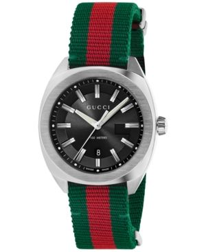 60f811ae4cc Gucci Men s GG2570 Swiss Green-Red-Green Web Nylon Strap Watch 41mm  YA142305 - White