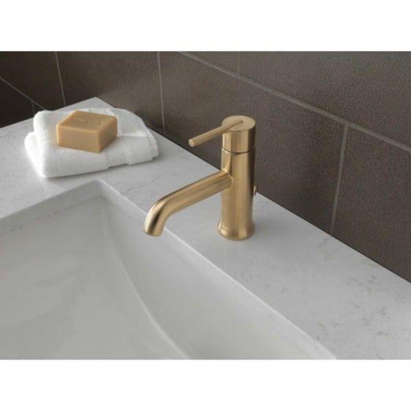 Delta Trinsic Single Handle Champagne Bronze Bathroom Faucet