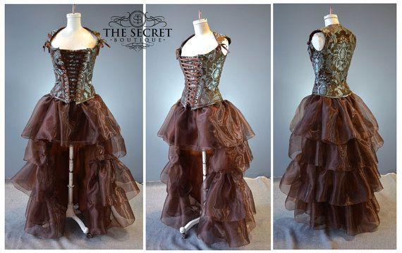 Ruffle skirt high low layered fairytale fantasy steampunk gothic cosplay wedding skirt separate-pet